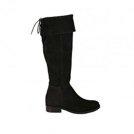 Bottes à bout pointu pour femmes en daim noir avec revers, elastique, lacets et fermeture éclair talon 3 - Pointures disponibles:  43, 45