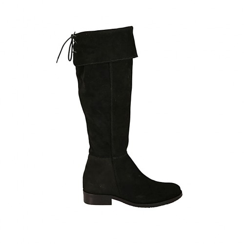 Woman's pointy boot in black suede with turnover, elastic band, lace and zipper heel 3 - Available sizes:  43, 44, 45