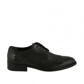 Chaussure élégant derby à lacets pour hommes en cuir noir avec decoration Brogue - Pointures disponibles:  36, 37, 38, 46, 49, 50