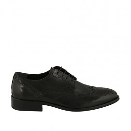 Men's laced elegant derby shoe in black leather with Brogue pattern - Available sizes:  36, 37, 38, 46, 48, 49, 50