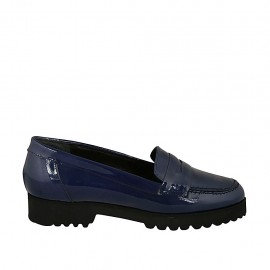 Woman's moccasin in blue patent leather heel 3 - Available sizes:  32, 33, 34, 43, 44