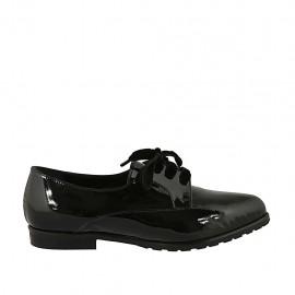 Zapato derby a punta para mujer en charol negro con cordones en terciopelo tacon 2 - Tallas disponibles:  33, 34, 42, 45