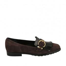 Mocassin pour femmes avec franges et boucle en daim marron et cuir brossé noir talon 2 - Pointures disponibles:  33, 34, 43