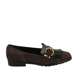 Woman's mocassin with fringes and buckle in brown suede and black brush-off leather heel 2 - Available sizes:  33, 34, 42, 43