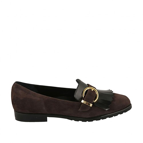 Woman's loafer with fringes and buckle in brown suede and black brush-off leather heel 2 - Available sizes:  33, 34