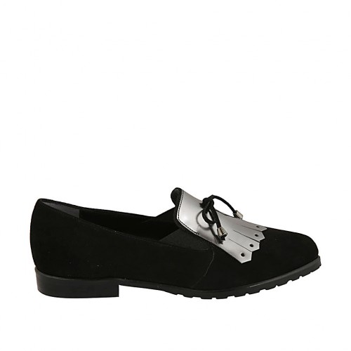 Woman's loafer with laces, fringes and elastics in black suede and silver brush-off leather heel 2 - Available sizes:  32, 33, 34