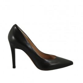 Zapato de salon a punta para mujer en piel negra con tacon 9 - Tallas disponibles:  31, 32, 34, 42, 43, 44, 45, 46, 47