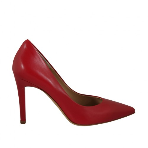 Woman's pointy pump shoe in red leather heel 9 - Available sizes:  31, 33, 34, 42, 43, 44, 45, 47