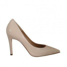 Woman's pointy pump shoe in nude leather heel 9 - Available sizes:  31, 32, 34, 42, 43, 44, 45, 46