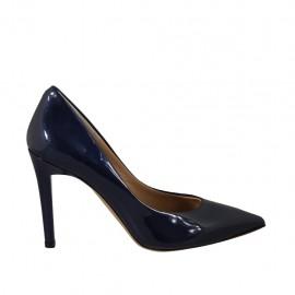 Decolté a punta da donna in vernice blu scuro tacco 9 - Misure disponibili: 31, 32, 33, 34, 42, 43, 44, 45, 46
