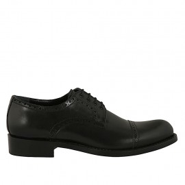 Men's derby shoe with laces and captoe in black leather - Available sizes:  36, 37, 38, 47, 48