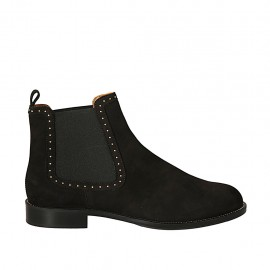 Woman's ankle boot with elastic bands and studs in black nubuck leather heel 2 - Available sizes:  33, 34, 43, 45