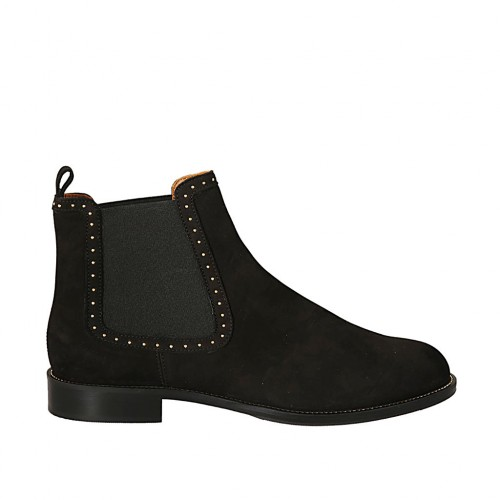 Woman's ankle boot with elastic bands and studs in black nubuck leather heel 2 - Available sizes:  34