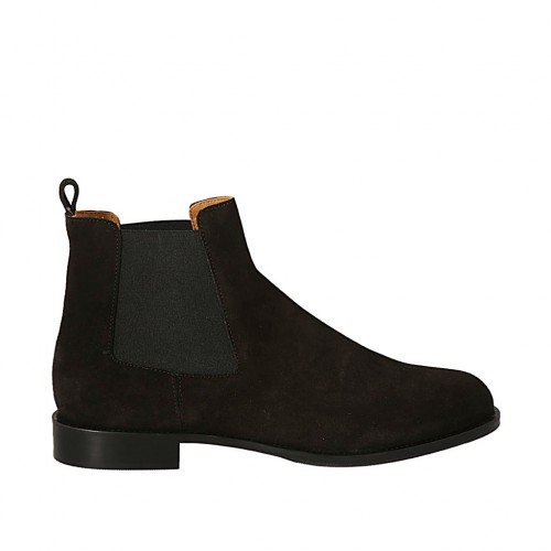 Woman's ankle boot with elastic bands in black suede heel 2 - Available sizes:  33