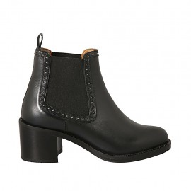 Woman's ankle boot with elastic bands and studs in black leather heel 6 - Available sizes:  32, 33, 34, 42, 43, 44, 45