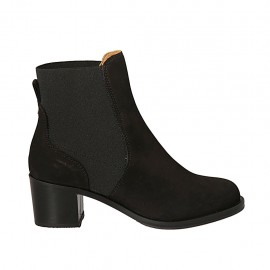 Woman's ankle boot with elastic band in black nubuck leather heel 5 - Available sizes:  32, 33, 34, 42, 43, 44, 45
