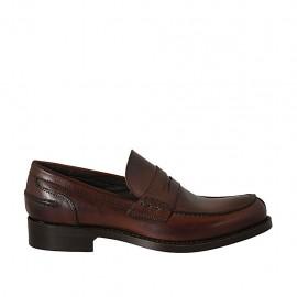 Mocasin elegante y clásico para hombre en piel marron - Tallas disponibles:  36, 37, 38, 46, 47, 48, 50