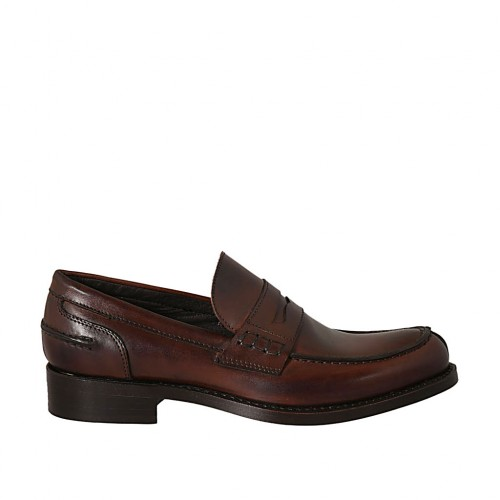 Man's elegant and classic loafer in brown leather - Available sizes:  37, 38, 46, 47, 48, 50