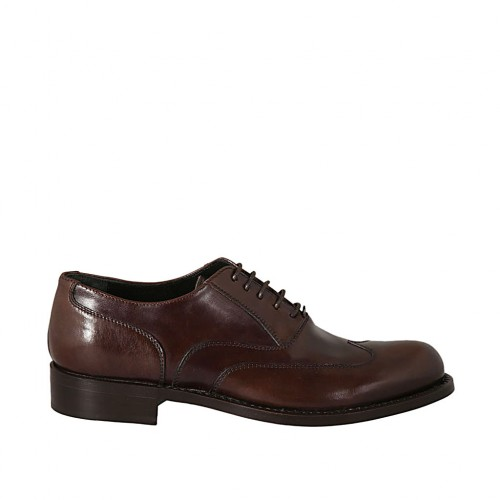 Men's laced Oxford shoe with wingtip decorations in dark brown leather - Available sizes:  37, 38, 46, 47, 49, 50