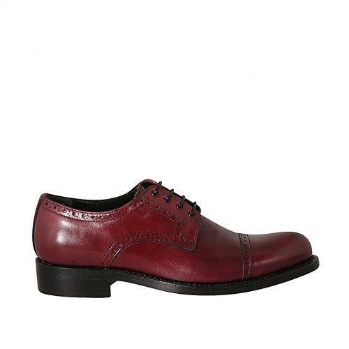 Man's laced derby shoe with floral captoe in maroon leather - Available sizes:  36, 37, 38, 46, 47, 48, 49, 50