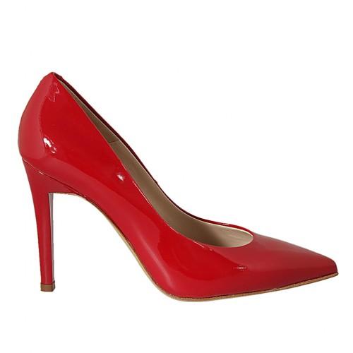 Escarpin pour femmes en cuir verni rouge talon 9 - Pointures disponibles:  31, 32, 33, 34, 42, 43, 44, 45, 46