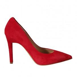 Zapato de salon a punta en gamuza roja para mujer tacon 9 - Tallas disponibles:  31, 32, 33, 34, 42, 43, 44, 45, 46, 47