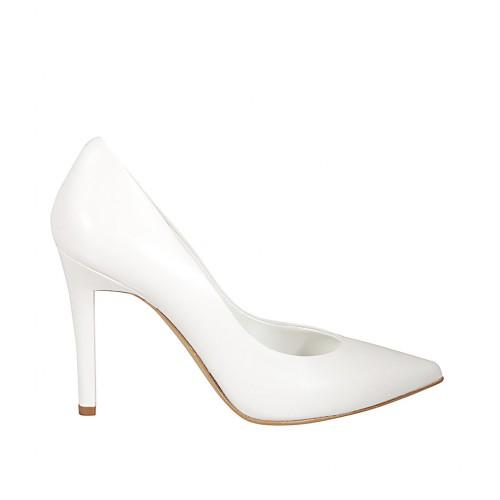 Zapato de salón a punta para mujer en piel color blanco tacon 9 - Tallas disponibles:  31, 32, 33, 34, 42, 43, 44, 45, 46