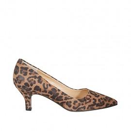 Zapato de salón a punta en gamuza moteada para mujer tacon 5 - Tallas disponibles:  32, 33, 34, 42, 43, 44, 45, 46