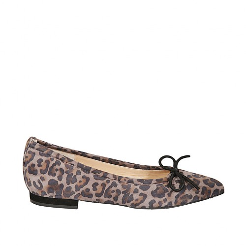 Woman's pointy ballerina shoe with bow in printed spotted suede heel 1 - Available sizes:  42