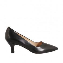 Zapato de salón a punta para mujer en piel negra tacon 5 - Tallas disponibles:  42, 43, 44