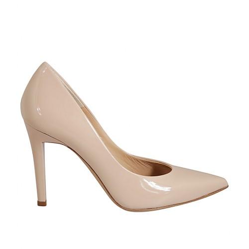 Zapato de salon puntiagudo en charol color desnudo tacon 9 - Tallas disponibles:  32, 33, 34, 42, 43, 44, 46, 47