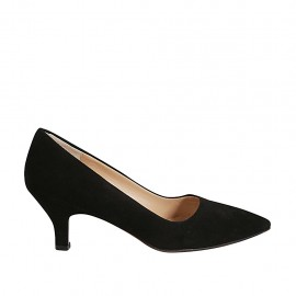 Woman's pointy pump in black suede heel 5 - Available sizes:  32, 33, 34, 43, 45