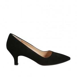 Zapato de salon a punta para mujer en gamuza negra tacon 5 - Tallas disponibles:  32, 33, 34, 43, 45