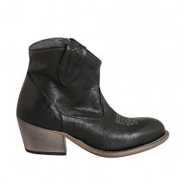 Bottine Texan pour femmes avec fermeture éclair et bout brodé en cuir noir talon 5 - Pointures disponibles:  32, 33, 34, 42, 43, 44, 45, 46
