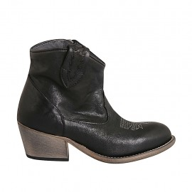 Woman's Texan ankle boot with zipper and embroidered captoe in black leather heel 5 - Available sizes:  32, 33, 34, 42, 43, 44, 45, 46