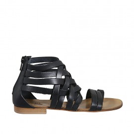 Chaussure ouverte entredoigt pour femmes avec fermeture èclair en cuir noir talon 1 - Pointures disponibles:  33, 34, 42, 43, 44, 45, 46, 47