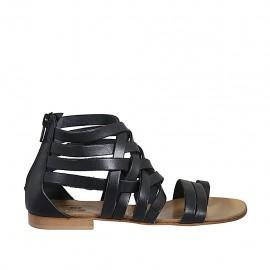 Zapato abierto infradedo para mujer con cremallera en piel negra tacon 1 - Tallas disponibles:  33, 34, 42, 43, 44, 45, 46, 47