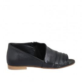 Zapato abierto con cremallera para mujer en piel negra tacon 1 - Tallas disponibles:  33, 34, 42, 43, 44, 45, 46, 47