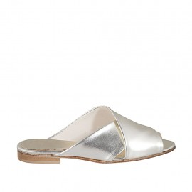 Woman's open mules in platinum laminated leather heel 1 - Available sizes:  33, 34, 42, 43, 44, 45, 47