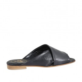 Woman's open mules in black leather heel 1 - Available sizes:  33, 34, 42, 43, 44, 45, 47