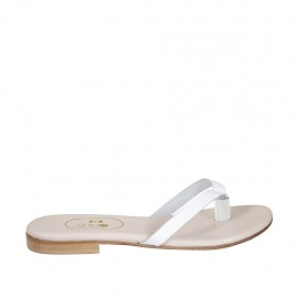 Woman's thong mules in white leather heel 1 - Available sizes:  33, 34, 42, 43, 44, 45, 46, 47