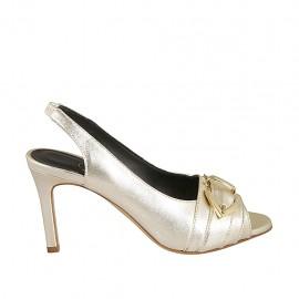 Sandalo da donna con fibbia ed elastico in pelle laminata platino tacco 8 - Misure disponibili: 31, 32, 33, 34, 42, 43, 44, 45, 46, 47