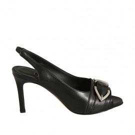 Sandalo da donna con fibbia ed elastico in pelle nera tacco 8 - Misure disponibili: 31, 32, 33, 34, 42, 43, 44, 45, 46, 47
