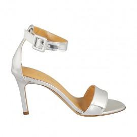 Zapato abierto con cinturon para mujer en piel laminada plateada tacon 8 - Tallas disponibles:  32, 33, 34, 42, 43, 44, 45, 46