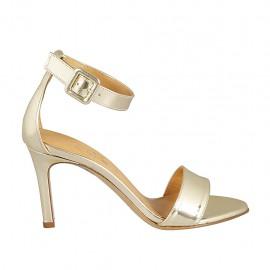 Zapato abierto con cinturon para mujer en piel laminada platino tacon 8 - Tallas disponibles:  32, 33, 34, 42, 43, 44, 45, 46