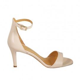 Zapato abierto para mujer en piel color desnudo con cinturon tacon 7 - Tallas disponibles:  32, 33, 34, 42, 43, 44, 45, 46
