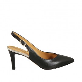 Woman's slingback pump in black leather and laminated platinum leather heel 7 - Available sizes:  32, 33, 34, 42, 43, 44, 45, 46