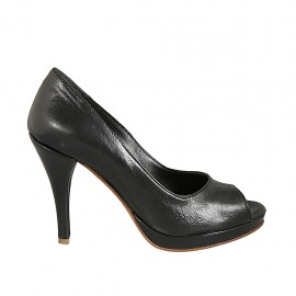 Escarpin à bout ouvert pour femmes avec plateau en cuir noir talon 9 - Pointures disponibles:  32, 33, 34, 42, 44, 45, 46