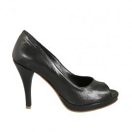Zapato de salon abierto en punta para mujer con plataforma en piel negra tacon 9 - Tallas disponibles:  32, 33, 34, 42, 44, 45, 46