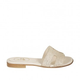 Woman's mules in platinum printed laminated leather heel 1 - Available sizes:  33, 34, 42, 43, 44, 45, 46, 47